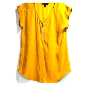 Express Gold Short sleeve zipper front top XS